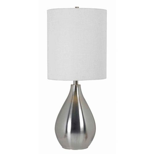 Droplet Brushed Steel One-Light Table Lamp with White Drum Shade
