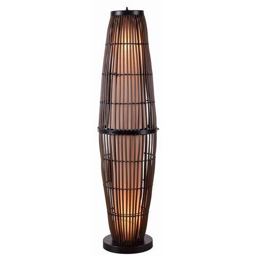 Biscayne Rattan with Bronze Accents Outdoor Floor Lamp