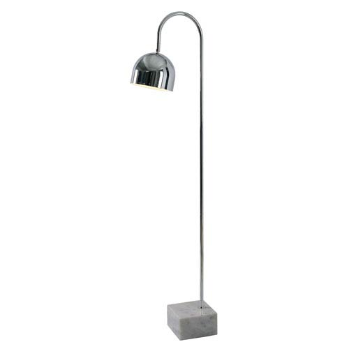 Kenroy Home Maverick Chrome With White Marble Base One Light Floor Lamp