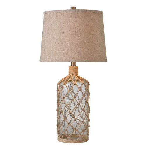 Captain Clear Textured Glass with Rope Wrap One-Light Table Lamp