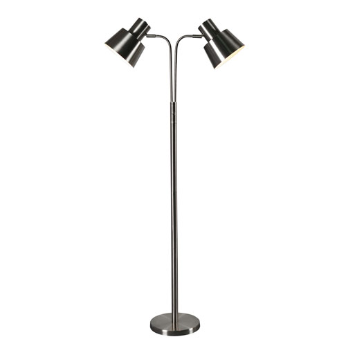 Kenroy home josephine brushed steel 10 inch two light floor lamp kenroy home josephine brushed steel 10 inch two light floor lamp aloadofball Choice Image