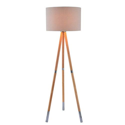 Jordon Natural Wood Grain with Brushed Steel Accent One-Light Floor Lamp