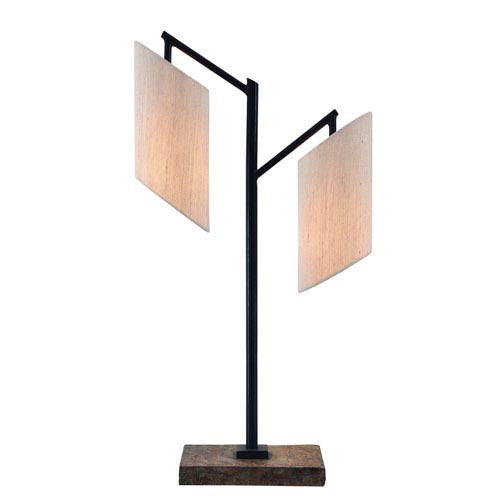 Solomon Slate and Oil Rubbed Bronze Two-Light Table Lamp