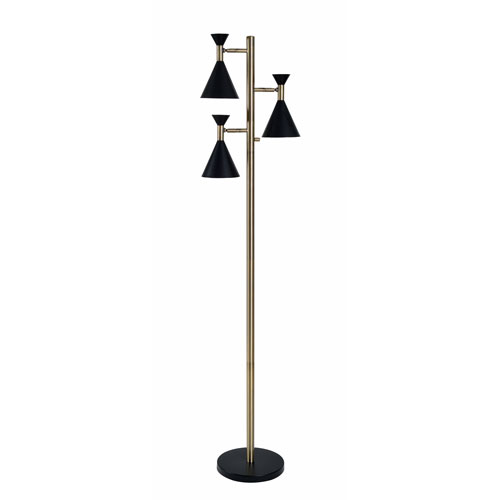 Kenroy Home Arne Black and Antique Brass 11-Inch Three-Light Tree Lamp