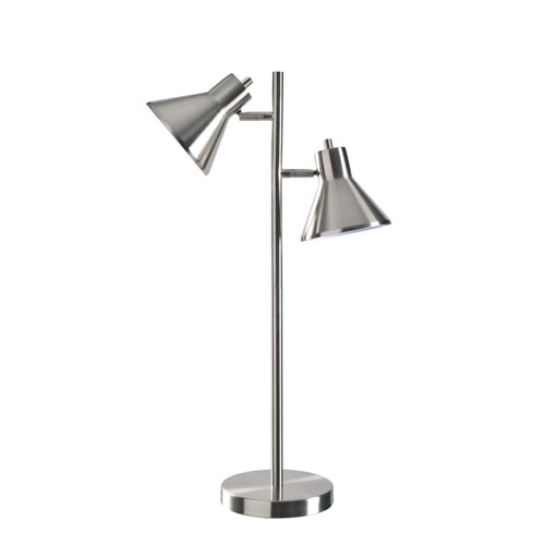 Kenroy Home Ash Brushed Steel 18-Inch Two-Light Table Lamp