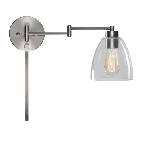Edis Brushed Steel 10-Inch One-Light Wall Swing Arm Lamp