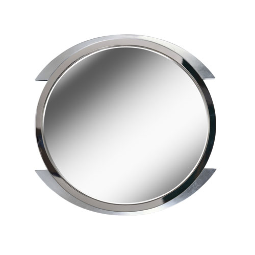 Maiar Brushed Steel with Accent Chrome Ring 36-Inch  Wall Mirror