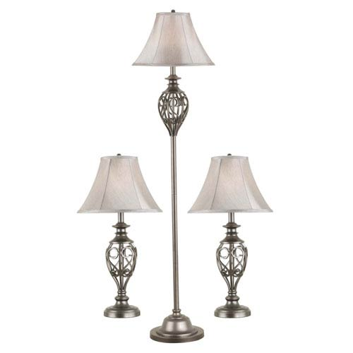 Kenroy Home Cerise Silver Three-Pack: Two Table Lamps, One Floor Lamp