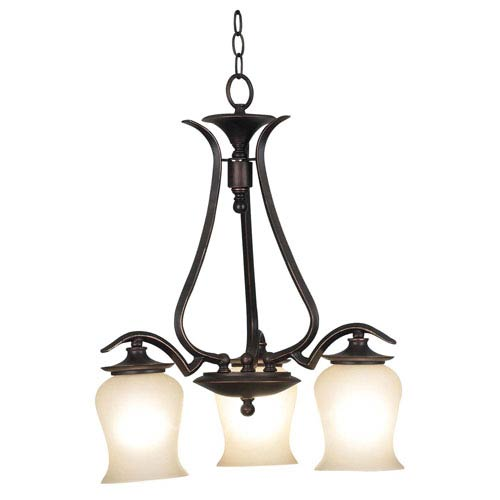 Bienville Oil Rubbed Bronze with Highlights Three-Light Downlight Chandelier