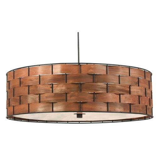 Shaker Dark Woven Wood Three Light Pendant