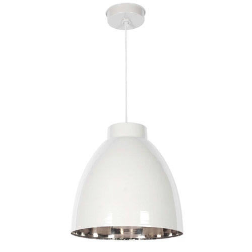 Kenroy Home Silo White and Nickel One-Light Pendant