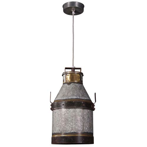 Kenroy Home Cudahy Galvanized Iron with Bronze Accents One Light Mini Pendant