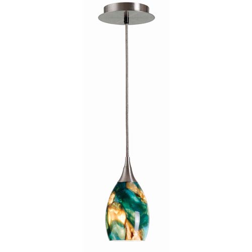 Appiani Brushed Steel One-Light Mini Pendant with Teal Glass Shade