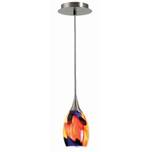 Appiani Brushed Steel One-Light Mini Pendant with Petunia Glass Shade