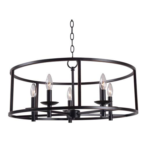 Arlen Oil Rubbed Bronze Five-Light Candelabra Pendant