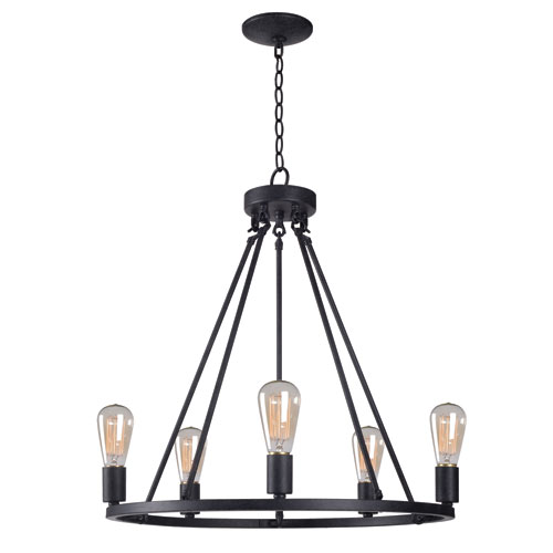 Hixon Forged Graphite 24-Inch Five-Light Chandelier