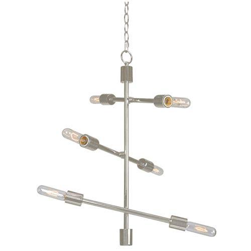 Swiv Brushed Steel Six-Light Chandelier