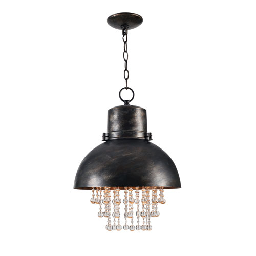 Nicole Faux Corroded Metal 14-Inch One-Light Pendant