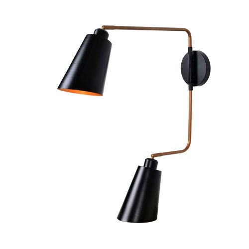 Alvar Matte Black with Antique Brass Inner Two-Light Wall Sconce