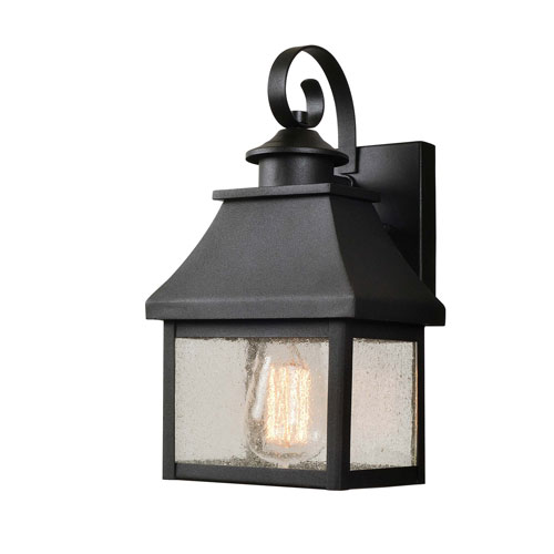 Nelson Sandy Black with Gold Highlights 7-Inch One-Light Small Outdoor Wall Lantern