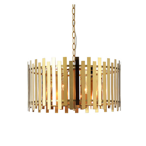 Kenroy Home Picket Shiny Gold and Matte Gold 20-Inch Four-Light Pendant