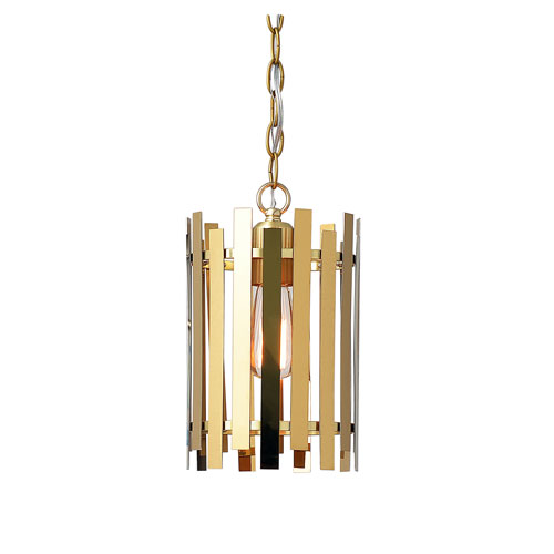 Kenroy Home Picket Shiny Gold and Matte Gold 8-Inch One-Light Mini Pendant