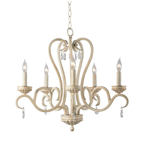 Marcella Weathered White with Gold Highlight 23-Inch Five-Light Chandelier