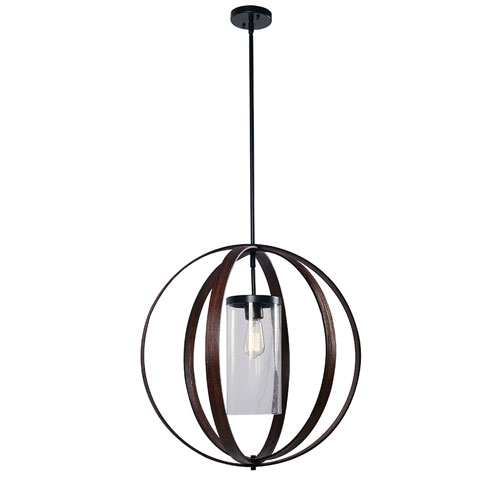 Olivia Bronze with Dark Wood 27-Inch One-Light Pendant