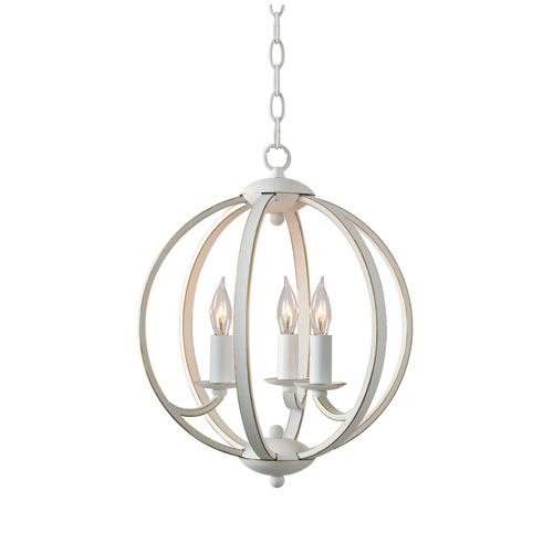 Opal Weathered White with Gold 13-Inch Three-Light Pendant