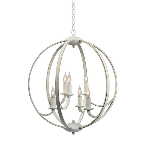 Opal Weathered White with Gold 21-Inch Six-Light Pendant