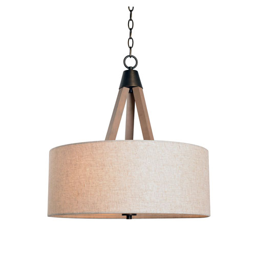 Peak Aged Metal with Light Wood 20-Inch Three-Light Drum Pendant