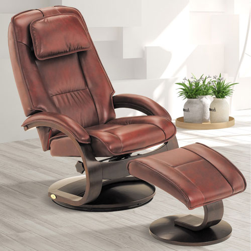 Mac Motion Chairs Merlot (Burgundy) Top Grain Leather Swivel, Recliner with Ottoman