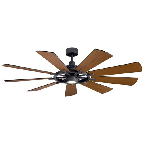Gentry Distressed Black LED 65-Inch Ceiling Fan