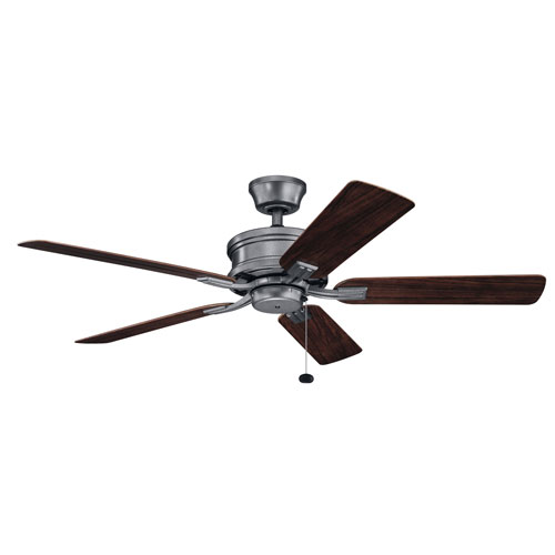 Tess Weathered Steel Powder Coat Ceiling Fan