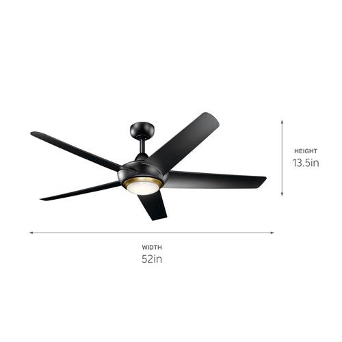 Kapono Satin Black 52-Inch LED Ceiling Fan