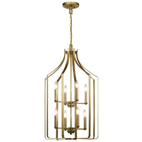 Morrigan Natural Brass 34-Inch Eight-Light Chandelier