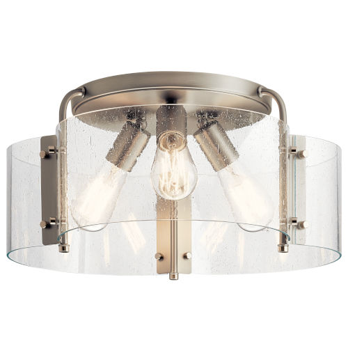 Thoreau Brushed Nickel 18-Inch Three-Light Flush Mount