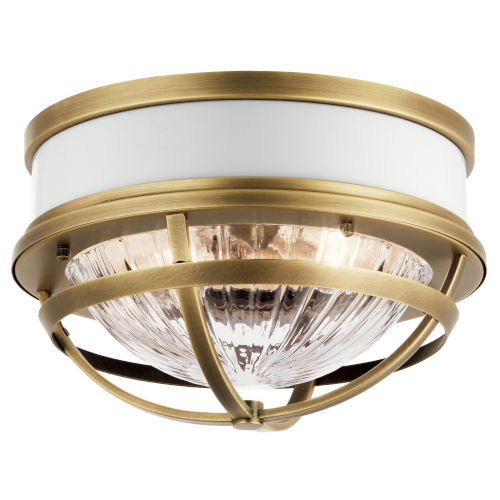Tollis Natural Brass 12-Inch Two-Light Flush Mount