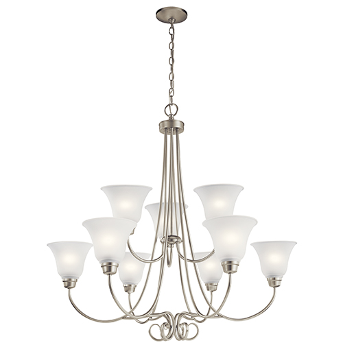 Kichler Bixler Brushed Nickel Nine Light Energy Star Led Chandelier