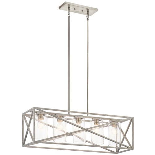 Moorgate Distressed Antique White Five-Light Chandelier