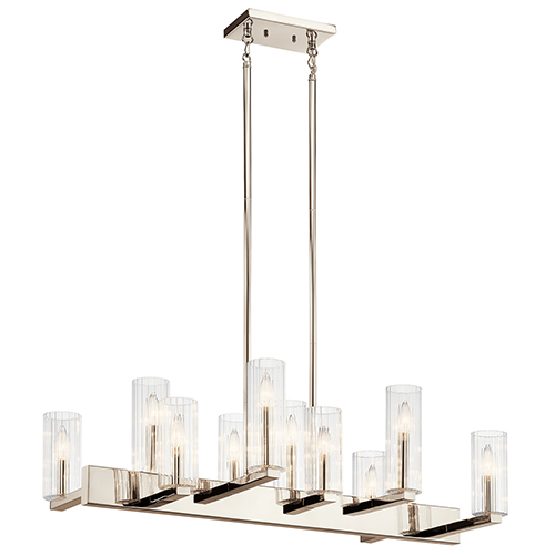 Cleara Polished Nickel 10-Light Chandelier