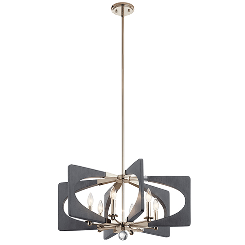 Alscar Driftwood Gray Five-Light Mini Chandelier