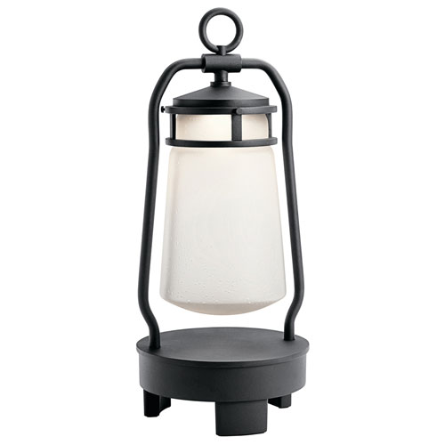 Lyndon Textured Black LED Outdoor Portable Bluetooth Lantern