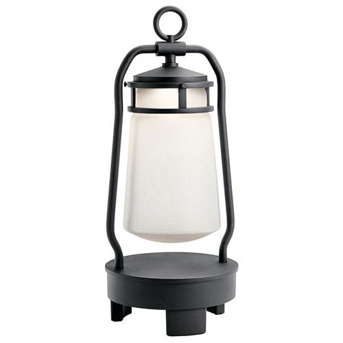 Lyndon Textured Black LED Outdoor Portable Bluetooth Lantern