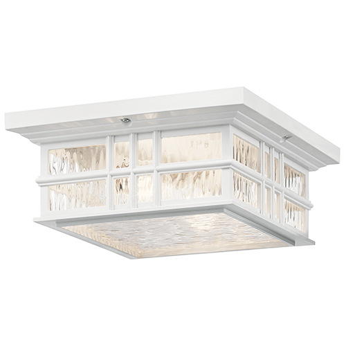 Kichler Beacon Square White Two-Light Outdoor Flush Mount