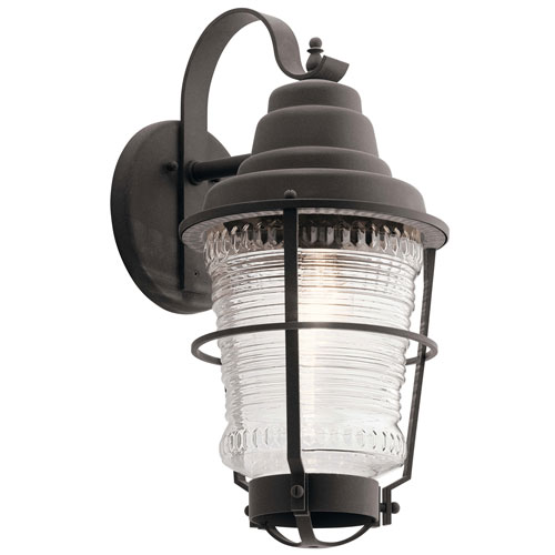 Chance Harbor 1-Light Outdoor Wall Light in Weathered Zinc