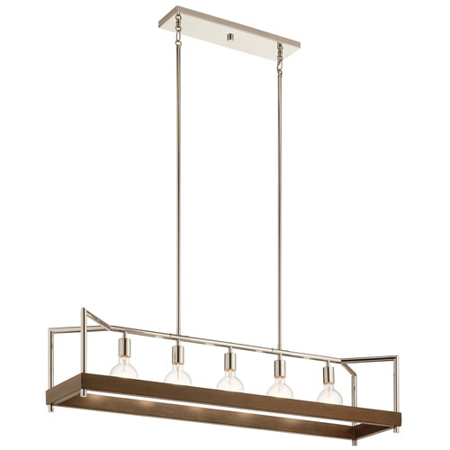 Tanis Auburn Stained Finish Five-Light Chandelier