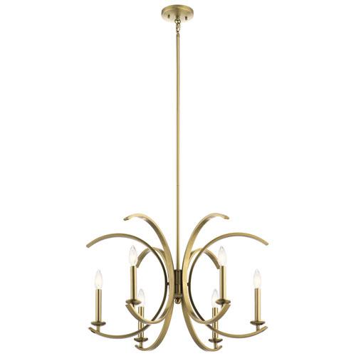 Cassadee Brushed Natural Brass Six-Light Chandelier