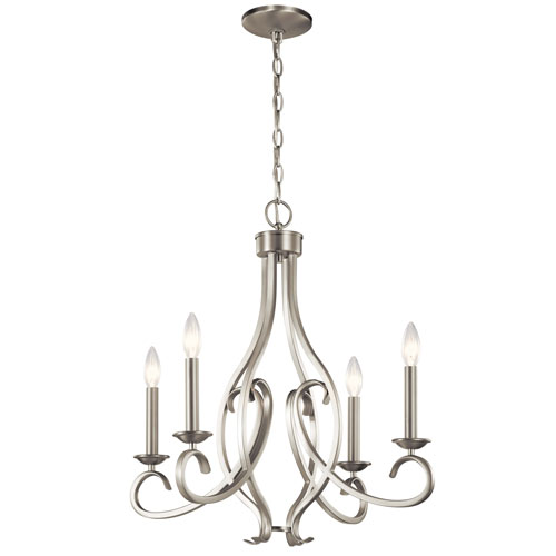 Ania Brushed Nickel Four-Light Chandelier
