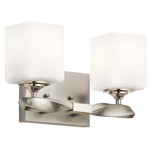 Marette Brushed Nickel Two-Light Bath Vanity